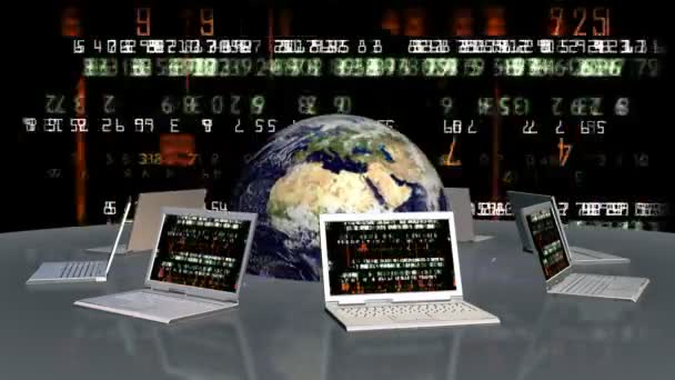 Earth and laptops with random numbers on screen