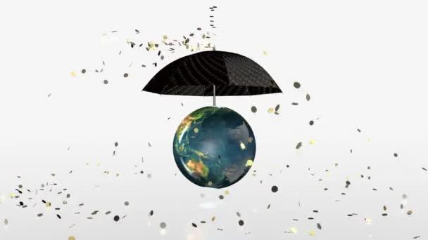 Föld föld összeomlik, arany érmék alá a forgó esernyő, alfa