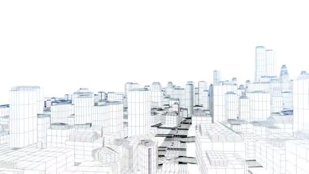 létání v načrtnuté městě na bílém pozadí, okraje záře