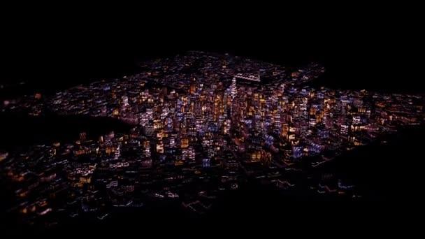 létání nad městem v noci