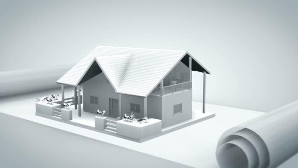 dům na modrý tisk bílé, RGB