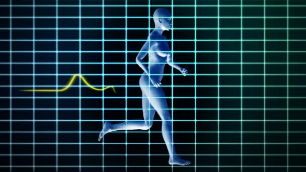 Medical EKG and woman running,loop