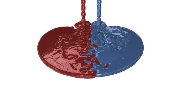 dipingere le perdite rosse e blu, baldoria, alfa