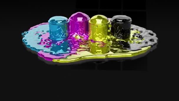 barvy cmyk, stříkající na černé podlaze reflexní, alfa součástí