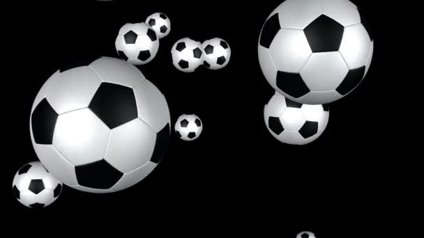 Soccer balls flying towards the screen with Alpha