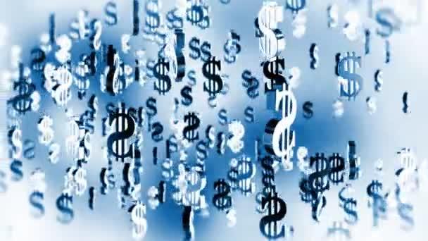 US Dollar symbol flying, blue tint