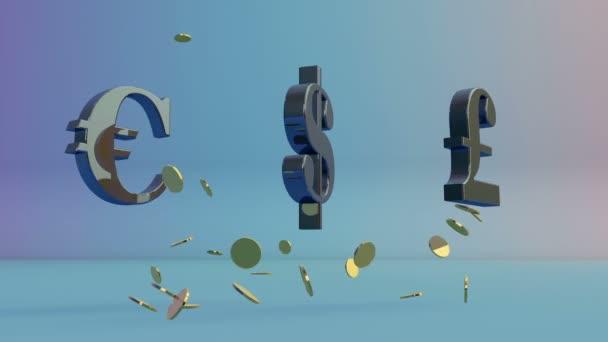 Usdollar Euro Und Englische Pfund Drehen Fallen Münzen