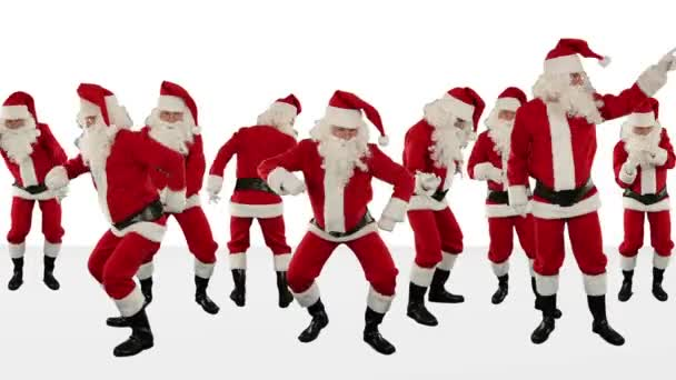 Santa Claus Crowd Dancing, Christmas Party Merry Christmas Shape, against white