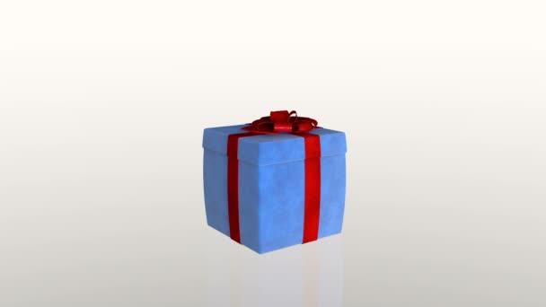 Ajándék doboz nyitó fedél bemutatni egy laptop, ellen, fehér