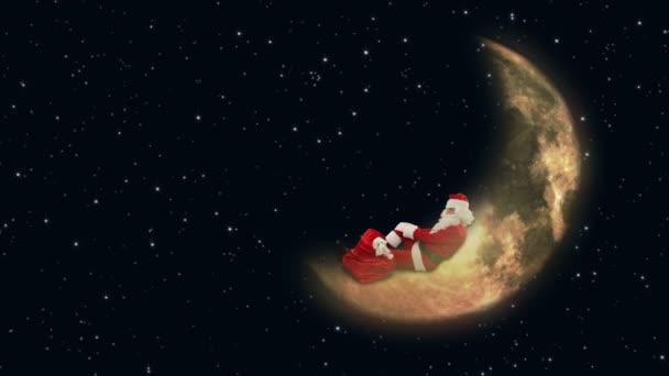 Santa claus na měsíci a čekání na sobí