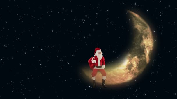 Santa claus sedící na měsíci a čekání na sobí