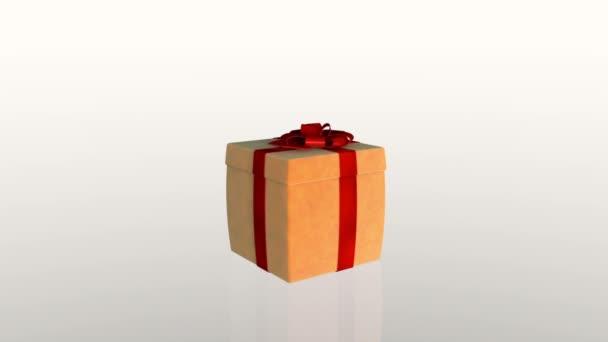 Ajándék doboz nyitó fedél bemutatni egy virtuális termék, ellen, fehér