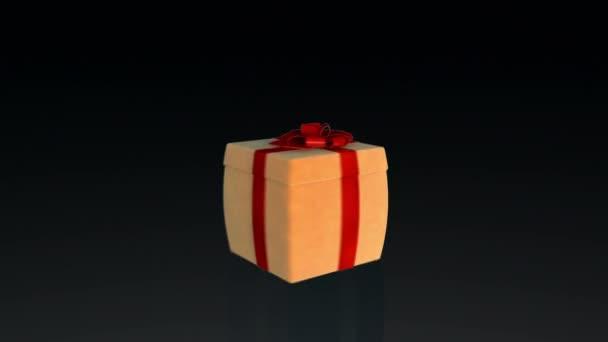 Dárková krabice otevírání víka prezentovat virtuální produkt, na černém pozadí s alfa matný