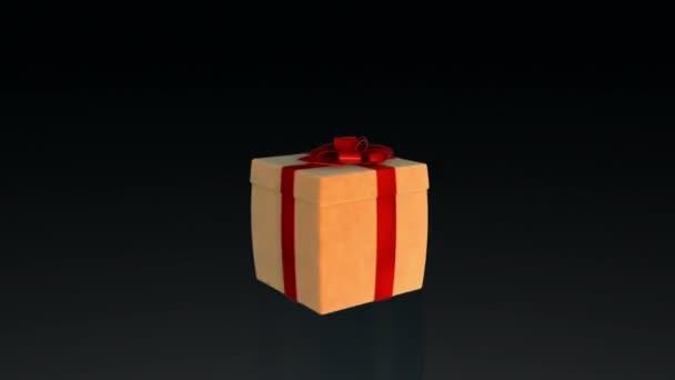 Dárková krabice otevírání víka prezentovat virtuální produkt, proti černé