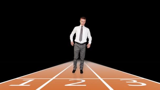 Készül a sprint versenyen ellen fekete üzletember