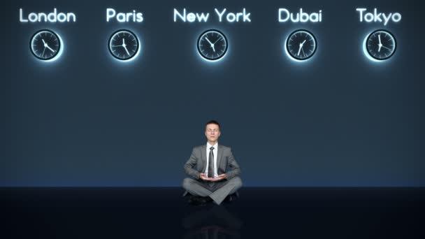 Kaufmann meditieren mit Weltzeit und Großstädten auf Hintergrund