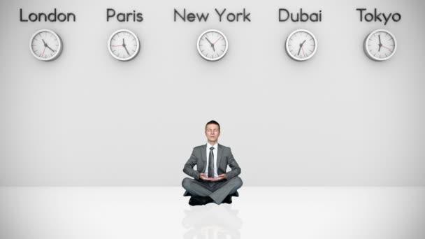 Dünya saatleri ve arka plan üzerinde büyük şehirler ile meditasyon işadamı