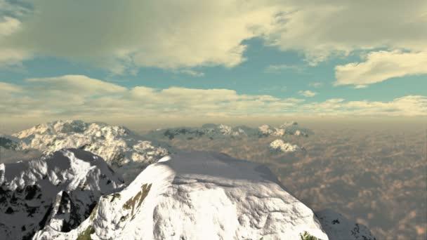 vrchol zasněžené hory s timelapse mraky