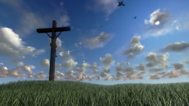 Jesus on Cross, meadow with olives, time lapse sunrise