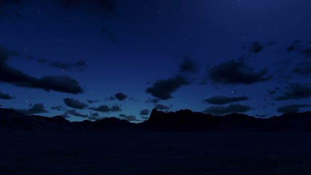 horská krajina v noci, timelapse mraky