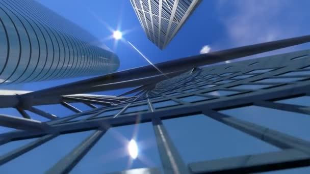 firemní budovy a čas zanikla mraky, architektonického pohledu