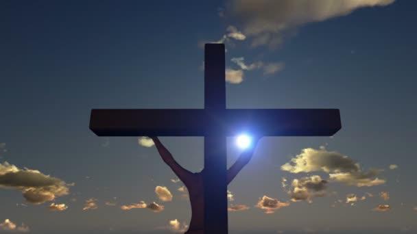 Jézus, a kereszt, zár fel, idő telik naplemente, nap-éj