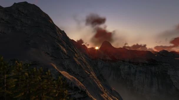 vrcholky hor za úsvitu, vrtulník zobrazení