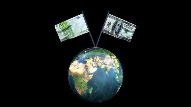 Dolar a euro vlajky rotující mávat s earth, smyčka