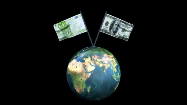 Dollar and Euro Flag Rotating Waving with Earth, Loop