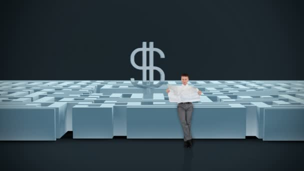 Businessman with Map trying to find his way in a Maze with USD Symbol, dark room