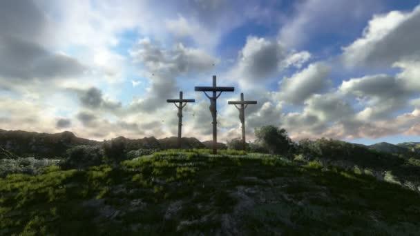 Jézus, a kereszt, rét, olajbogyó, idő telik naplemente