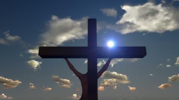 Jézus, a kereszt, közelről, timelapse felhők a naplemente, panoráma