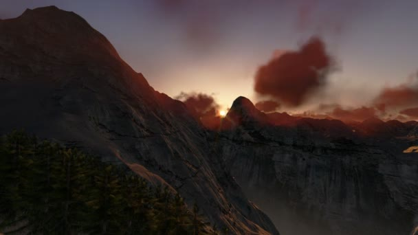 Mountain peaks at sunset, timelapse clouds