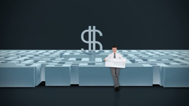 Businessman with Map trying to find his way in a Maze with USD Symbol