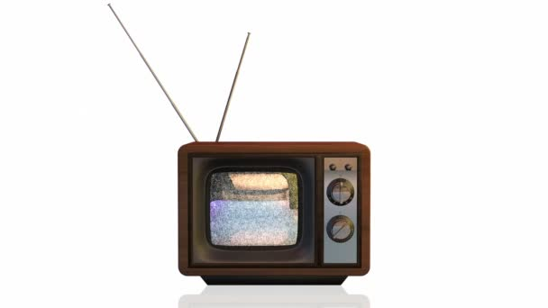 Vintage tv Withstatic Lärm-Test auf dem Bildschirm gegen weiß