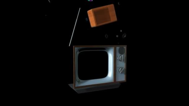 Régi Tv oldjunk fel egy új TV-készülék fekete, statikus kamera, a képernyőn csak alfa ellen