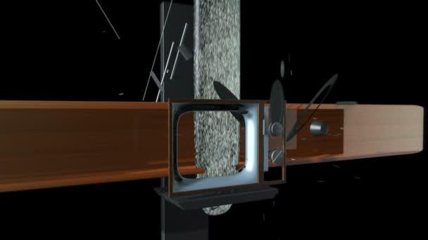 Régi Tv Crystalize-ba egy új Tv-fekete, statikus kamera ellen