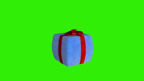 Dárková krabice vrtící uvolnit virtuální produkt, smyčka proti zelené, alfa matný
