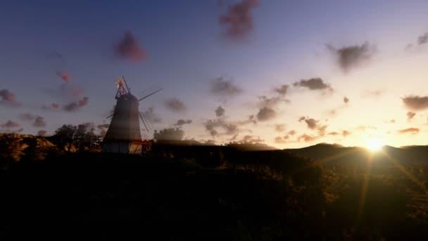 vítr mlýn a timelapse mraky, posouvání