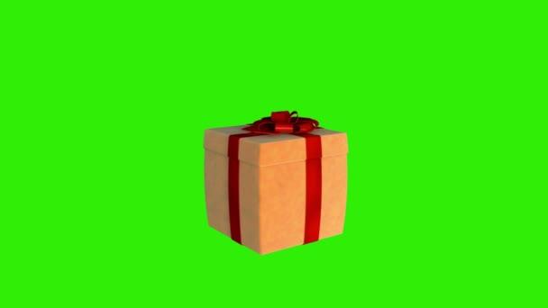 Dárková krabice otevírání víka prezentovat virtuální produkt, zelená obrazovka