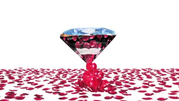 Diamond attracting rose petals, against white