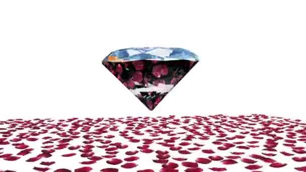 Diamond attracting rose petals, camera rotating, against white