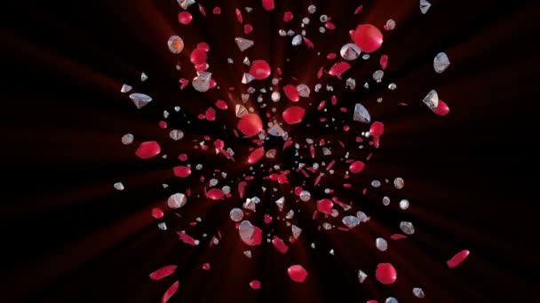 Rose petals and Diamonds Flying towards camera, against black