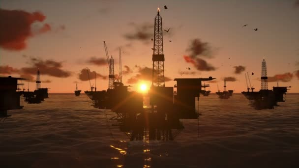 Oil Rigs in ocean, beautiful time lapse sunset
