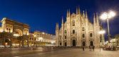 panorama di vista Cattedrale notte Milano