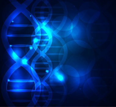 DNA chain abstract blue background stock vector