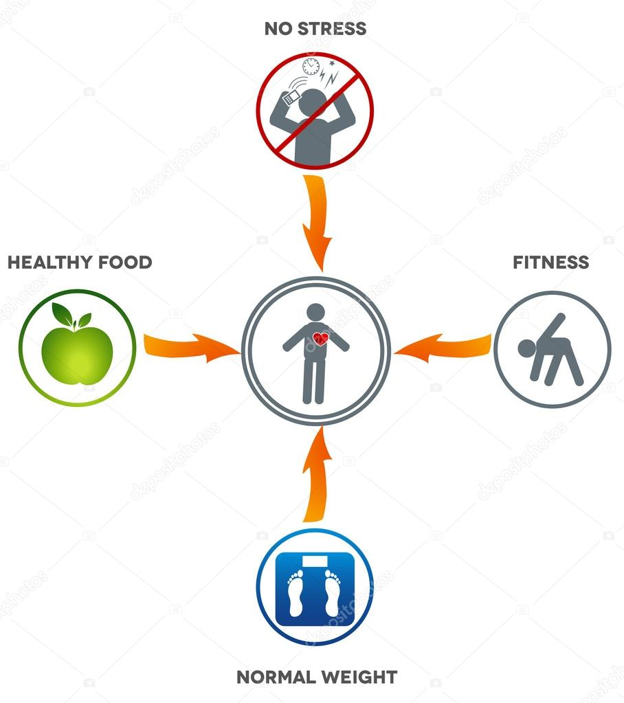 Healthy lifestyle stock vector megija 19174965 healthy lifestyle healthy food fitness normal weight and no stress leads to healthy heart and life vector by megija ccuart Choice Image