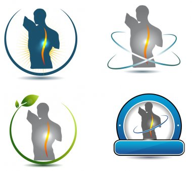 Human back, spine healthcare symbols
