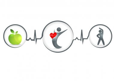 Wellness and healthy heart symbol. Healthy food and fitness leads to healthy heart and life. stock vector