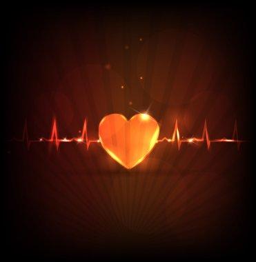 Heart health care wallpaper. Modern design. Abstract human heart and cardiogram. stock vector